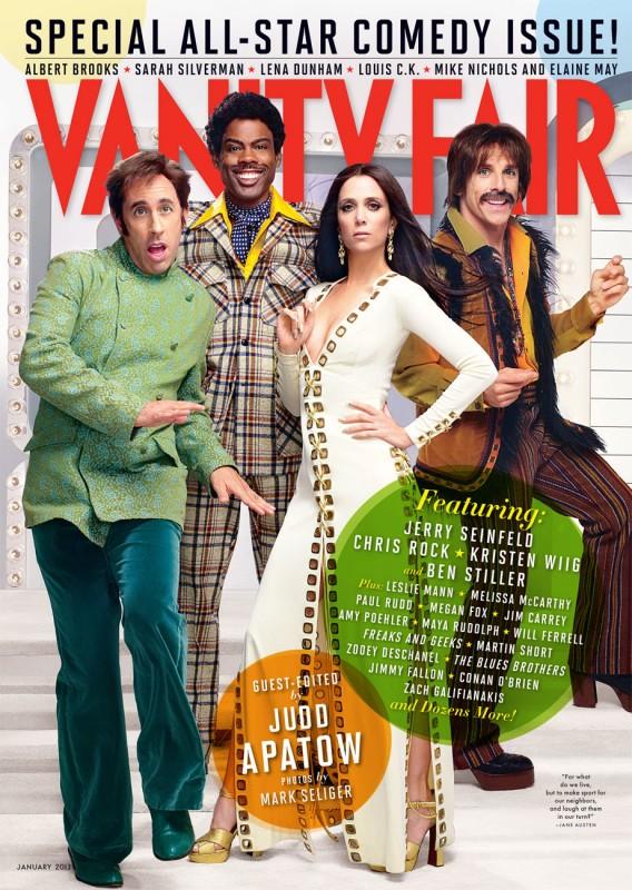 Vanity Fair USA - gennaio 2013: Kristen Wiig e Ben Stiller (vestiti come Sonny e Cher) con Jerry Seinfeld e Chris Rock