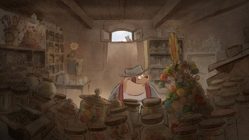 Ernest & Celestine: l'orso Ernest in un negozio di dolciumi in una scena
