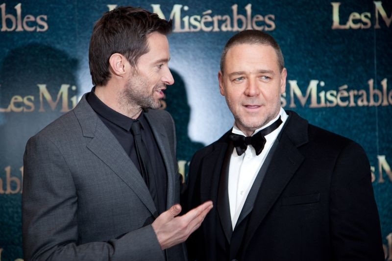 Les Misérables: Hugh Jackman e Russell Crowe durante la premiere londinese a Leicester Square