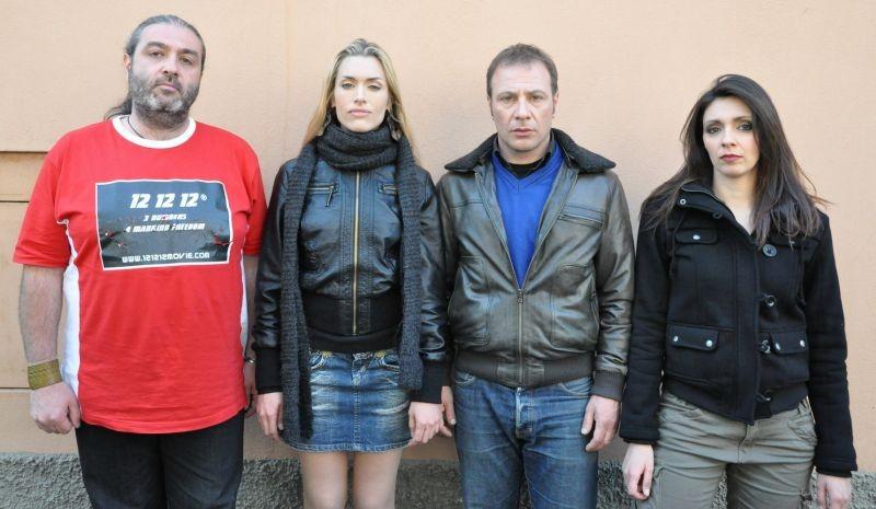 12 12 12: il regista Massimo Morini con Kate Kelly, Raf Grande e Federica Ruggero in una foto promozionale