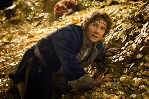 Martin Freeman in una scena del film The Hobbit: The Desolation Of Smaug