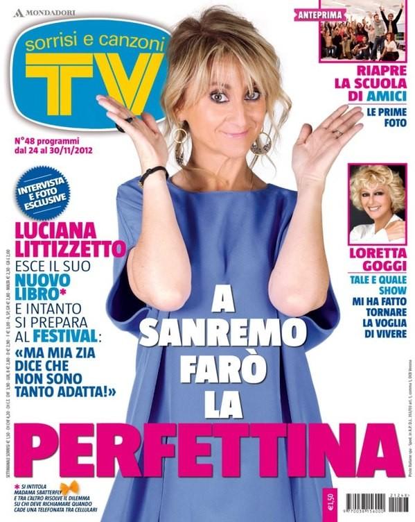 Luciana Littizzetto sulla copertina di Tv Sorrisi e Canzoni nel 2012, per presentare Sanremo 2013