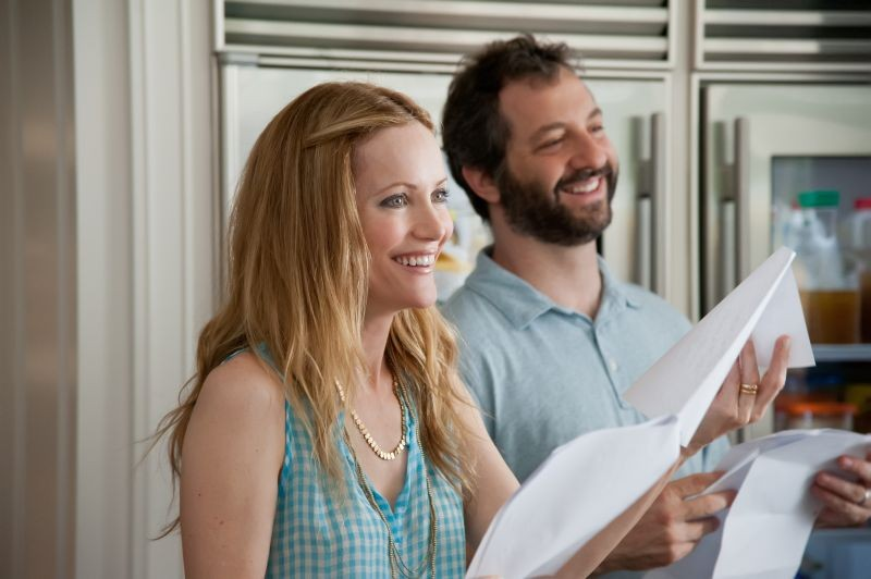 Leslie Mann sul set di Questi sono i 40 insieme al marito Judd Apatow, regista del film