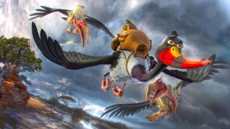 Zambezia: l'uccello Gogo con Cecil e Cyril in una scena del film in 3D