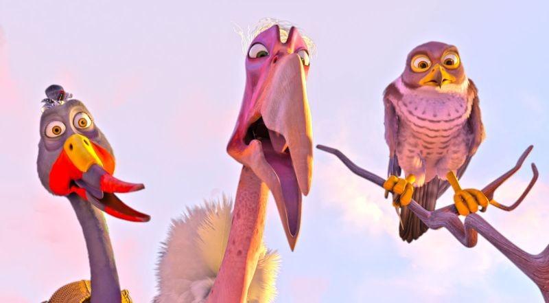 Zambezia: l'uccello Gogo con Cecil e Tendai in una scena del film in 3D