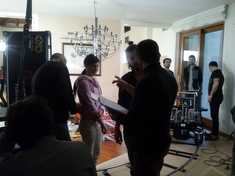 Roberta Carluccio durante le riprese dello Spot Acqua Santanna 2012/2013