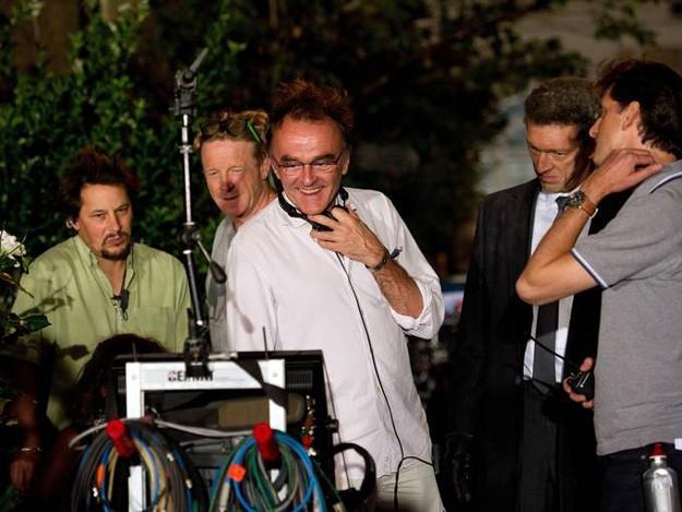 Trance: il regista Danny Boyle e Vincent Cassel durante la lavorazione