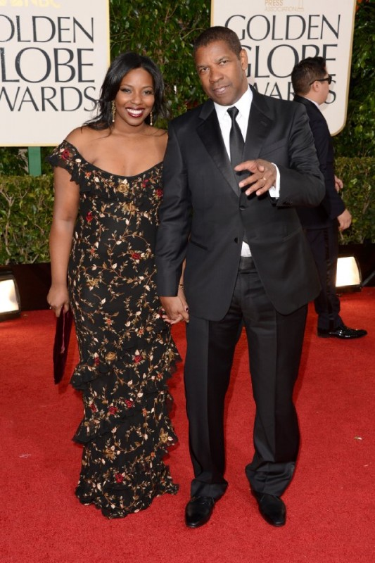 Denzel Washington e Pauletta Washington sul red carpet dei Golden Globes 2013