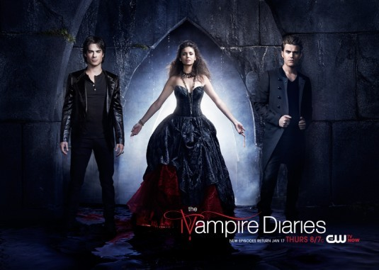 The Vampire Diaries: Ian Somerhalder, Nina Dobrev e Paul Wesley in un poster della stagione 4