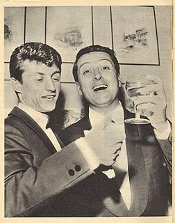 Sanremo 1963 - Tony Renis ed Emilio Pericoli brindano al successo di Uno per tutte, brano vincitore