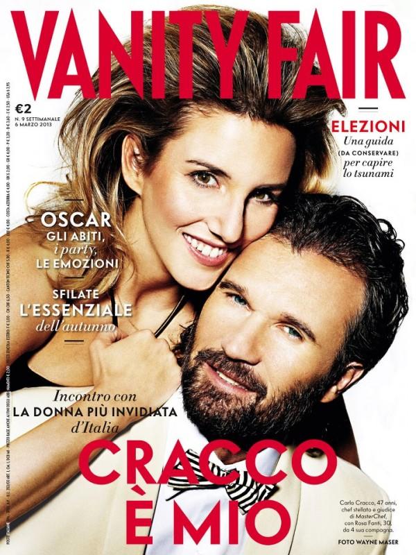 Carlo Cracco sulla cover di Vanity Fair (febbraio 2013) con la sua compagna, Rosa