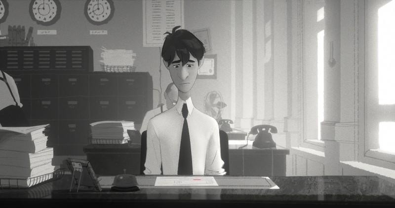 Paperman: il triste George in una scena del cortometraggio animato