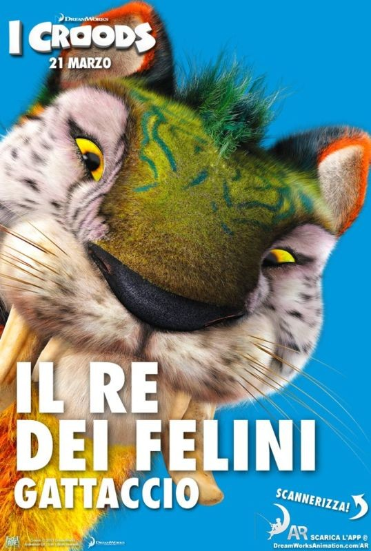 I Croods: il re dei felini Gattaccio nel character poster italiano