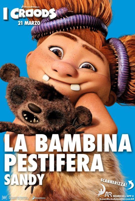 I Croods: la bambina pestifer Sandy nel character poster italiano
