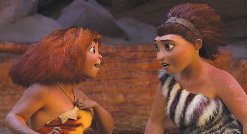 I Croods: la giovane Hip insieme a Ugga in una scena del film