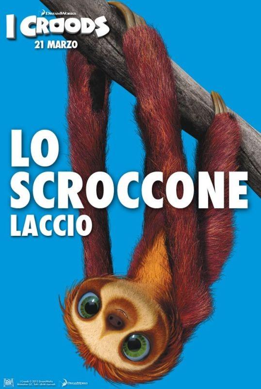 I Croods: Laccio, il bradipo scroccone, nel character poster italiano