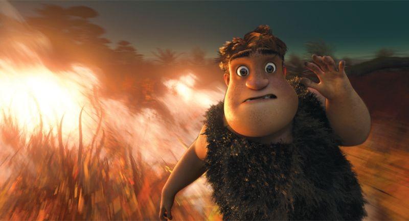 I Croods: Tonco fugge dal fuoco in una scena del film