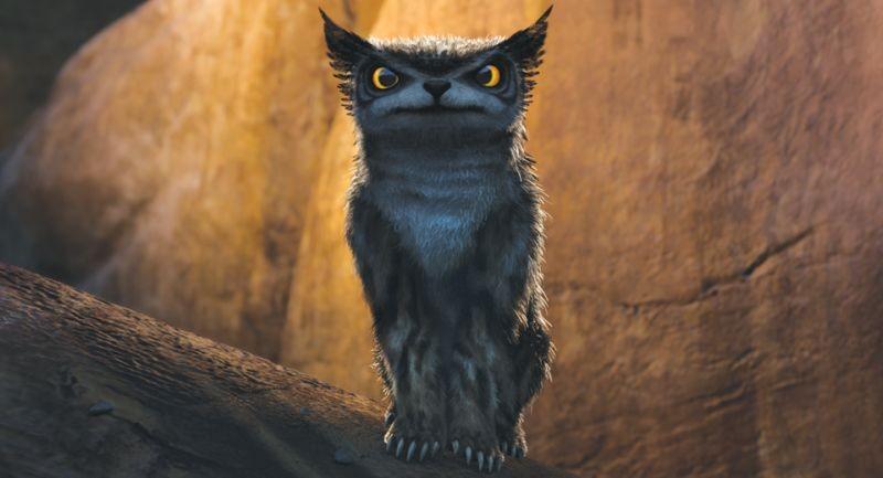 I Croods: uno strano animale preistorico in una scena del film
