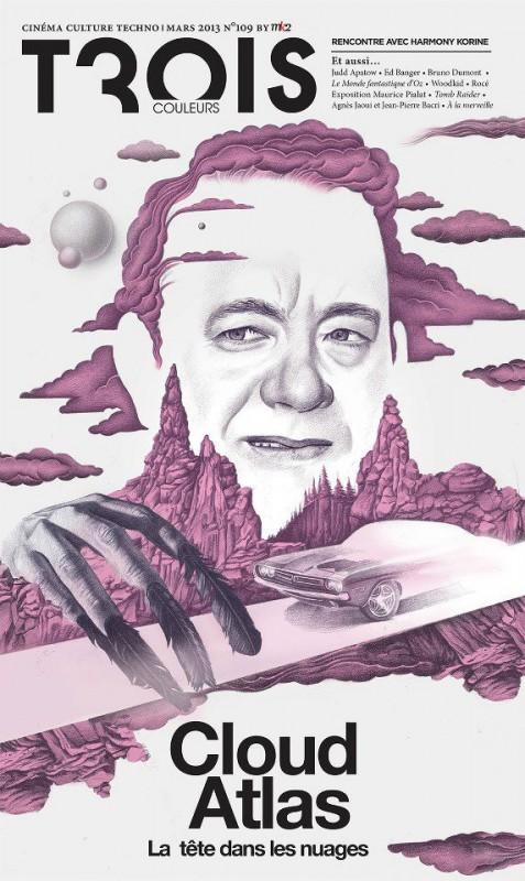 Un ritratto di Tom Hanks sulla cover del magazine francese Trois Coleurs, dedicata a Cloud Atlas.