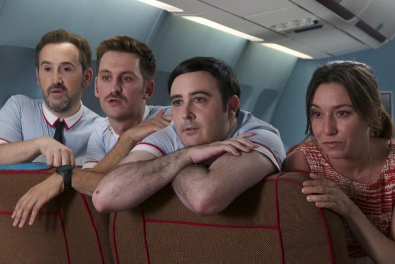 Gli amanti passeggeri: Javier Cámara, Raúl Arévalo,  Carlos Areces e Lola Dueñas in un'immagine del film