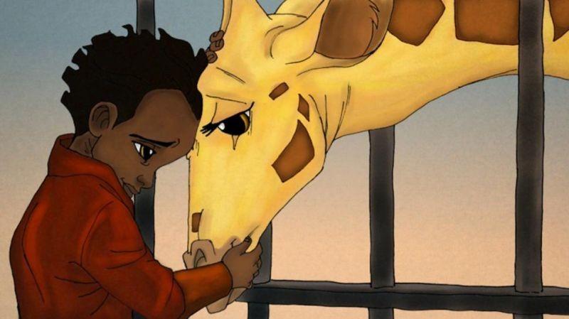 Le avventure di Zarafa - Giraffa Giramondo: il piccolo Maki accarezza la giraffa Zarafa in una scena