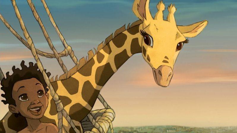 Le avventure di Zarafa - Giraffa Giramondo: il piccolo Maki sorride insieme alla giraffa Zarafa in una scena