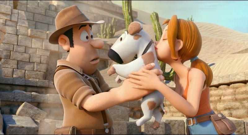Le avventure di Taddeo l'esploratore: Sara, Taddeo e il cane Jeff in una scena