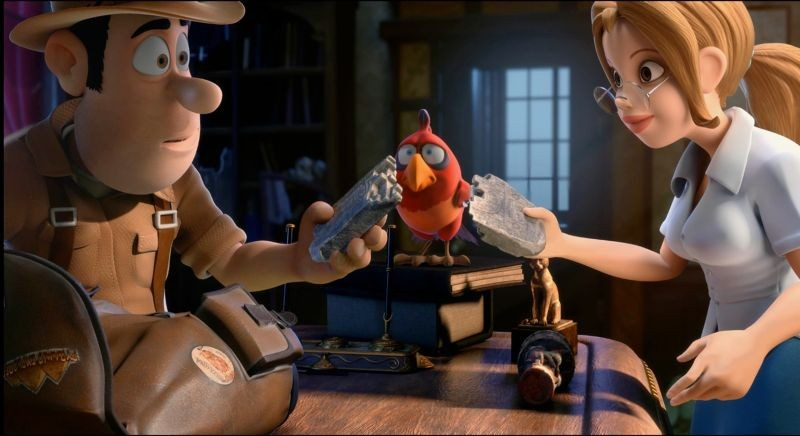 Le avventure di Taddeo l'esploratore: Taddeo con la bella archeologa Sara e il pappagallo muto in una scena del film