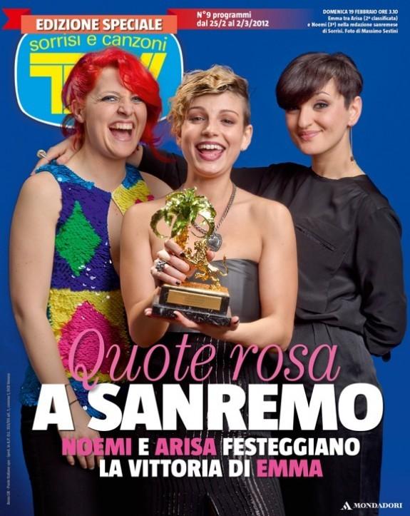 Sanremo 2012 - Arisa, Noemi e Emma Marrone sulla cover di Sorrisi