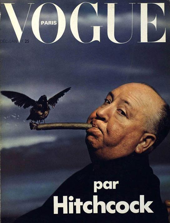 Una vecchia cover di Vogue Paris dedicata ad Alfred Hitchcock e Gli Uccelli