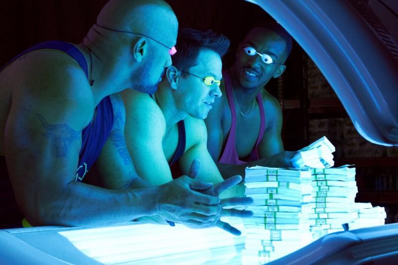 Mark Wahlberg, Anthony Mackie e Dwayne Johnson sul set di Pain and Gain