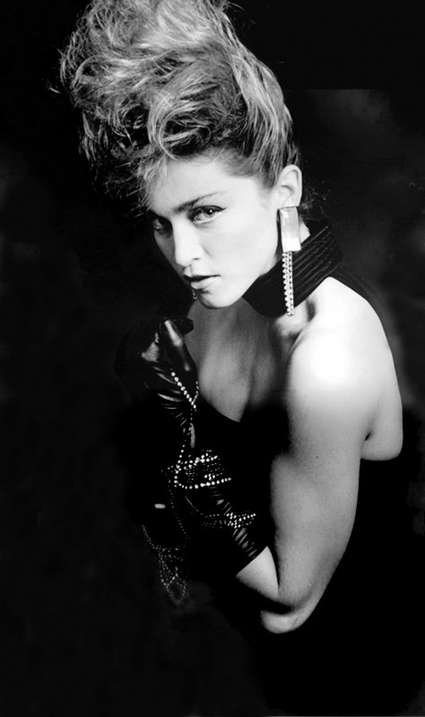 Un ritratto un bianco e nero di Madonna