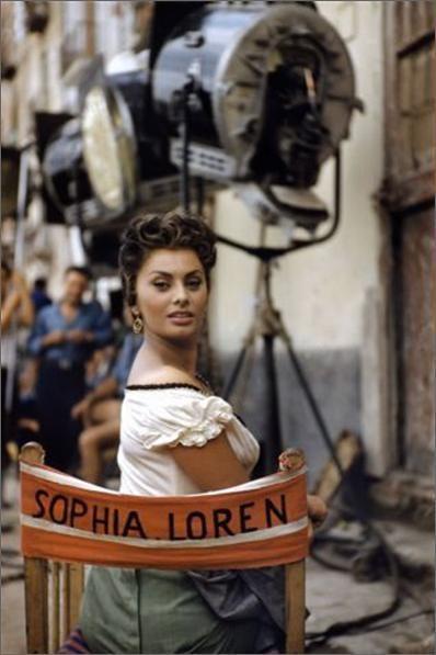 Sophia Loren sul set.