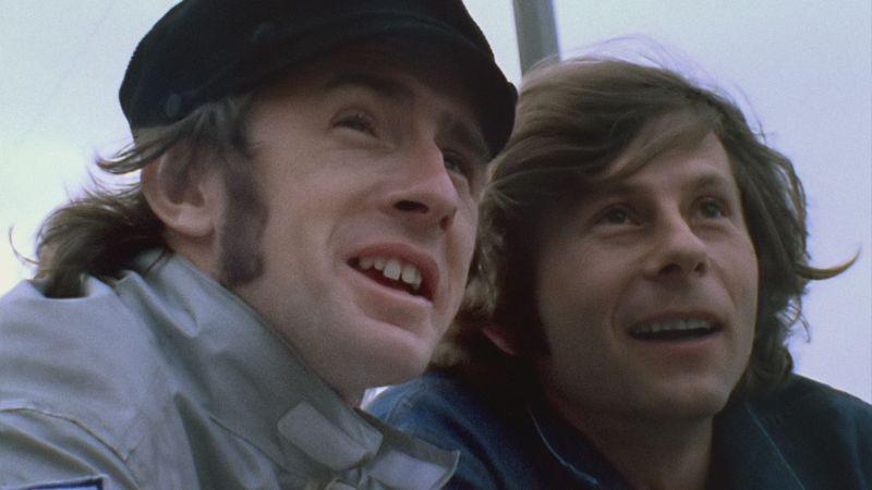 Weekend of a Champion: il pilota Jackie Stewart in una scena del documentario insieme a Roman Polanski