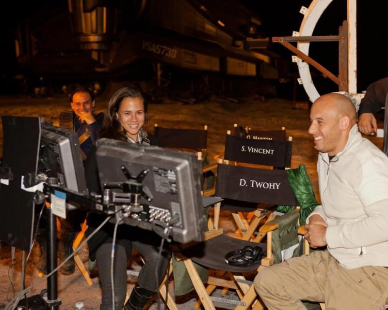 Vin Diesel sul set del fantascientifico Riddick