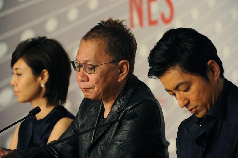 Shield of Straw: Takashi Miike con Nanako Matsushima e Takao Osawa durante la conferenza stampa del film a Cannes 2013
