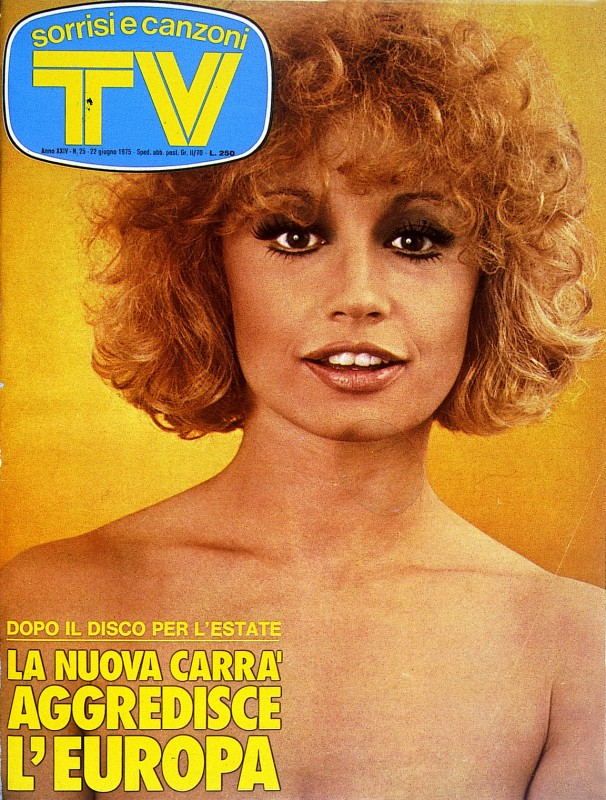 Una Raffaella Carrà tutta ricci su una copertina di TV Sorrisi e Canzoni 1975