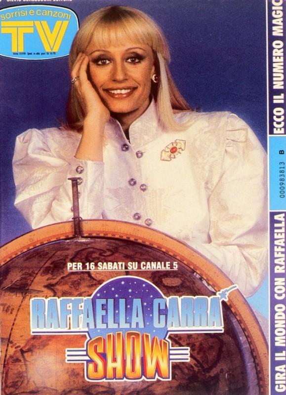 Una Raffaella Carrà tutta su una copertina di TV Sorrisi e Canzoni del 1988