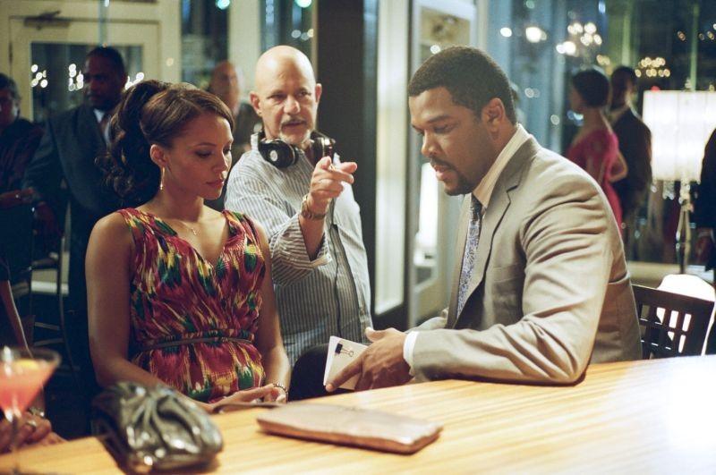 Tyler Perry e Carmen Ejogo sul set di Alex Cross con il regista Rob Cohen
