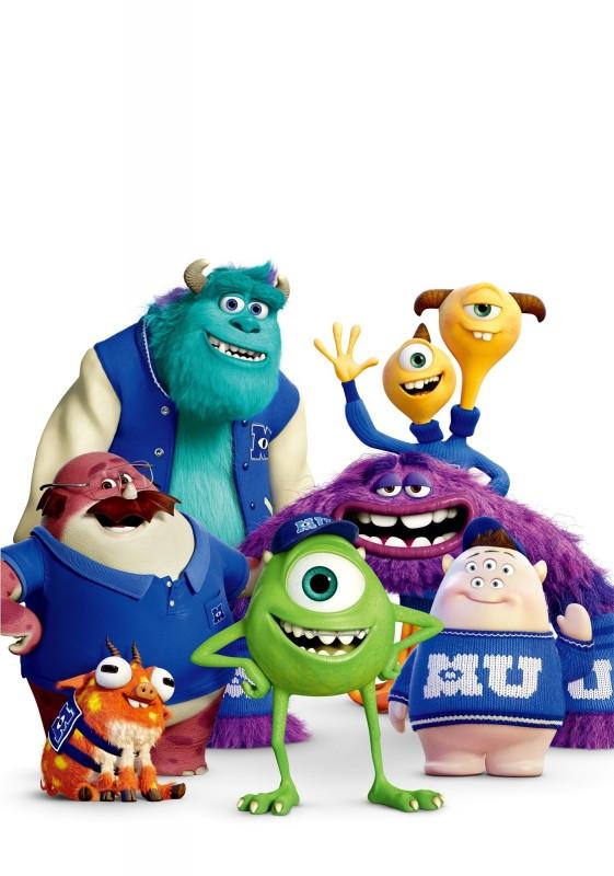 Monsters University - James P. Sullivan, Terri & Terry Perry, Don Carlton, Art, Mike Wazowski e Scott 'Squishy' Squibbles