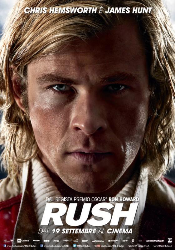 RUSH - il character poster in esclusiva di James Hunt (Chris Hemsworth)