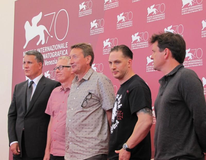 Tom Hardy e Steven Knight presentano 'Locke' alla Mostra del Cinema con Guy Heeley e Paul Webster