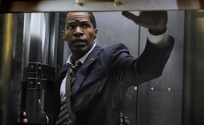 Jamie Foxx in una scena di Sotto Assedio - White House Down nei panni del Presidente Usa