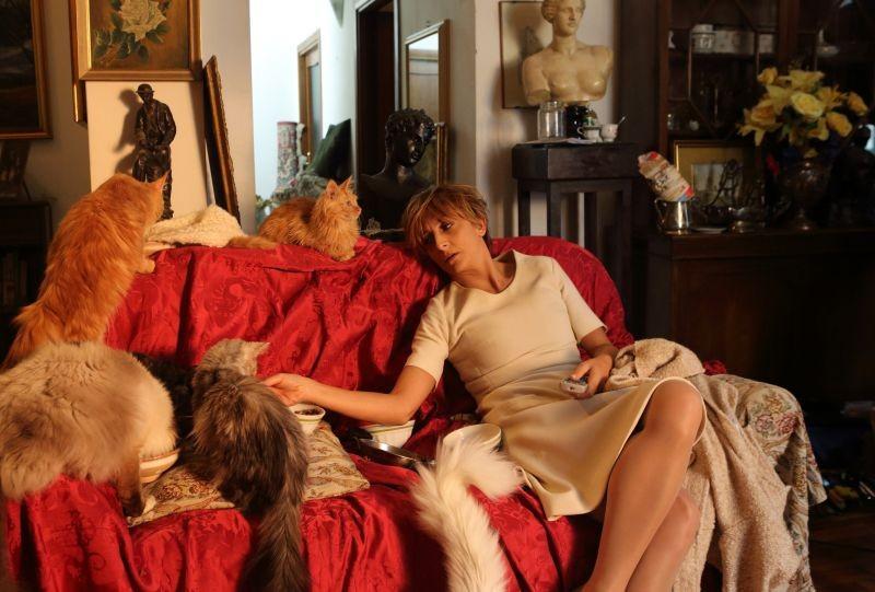 Universitari - Molto più che amici: Paola Minaccioni con i suoi gatti in una scena del film