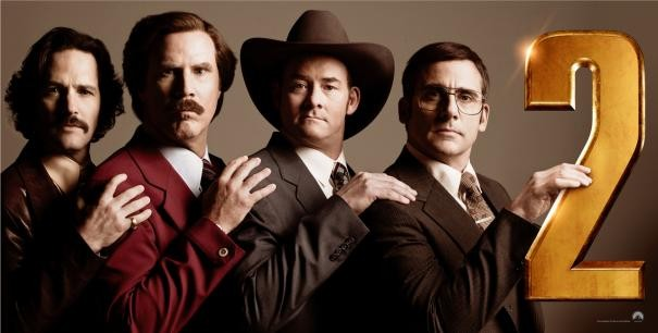 Anchorman 2 - Fotti la notizia: Paul Rudd, Steve Carell, David Koechner e Will Ferrell in un'immagine promozionale