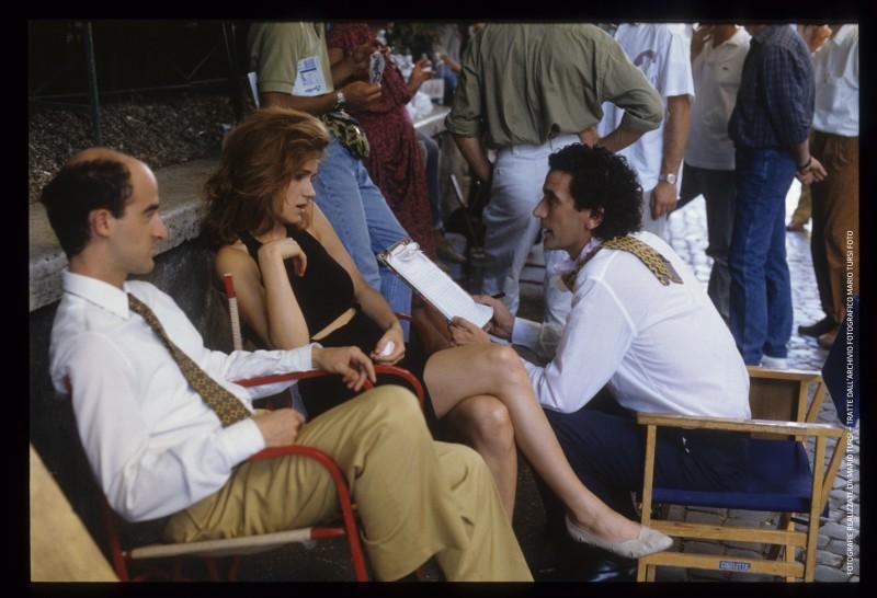 Pensavo fosse amore...: Massimo Troisi, Francesca Neri e Angelo Orlando sul set (foto di MARIO TURSI)