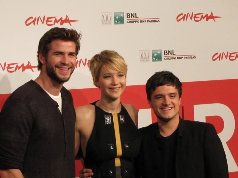 Hunger Games: la ragazza di fuoco, Liam Hemsworth, Josh Hutcherson, Jennifer Lawrence  al Festival di Roma 2013