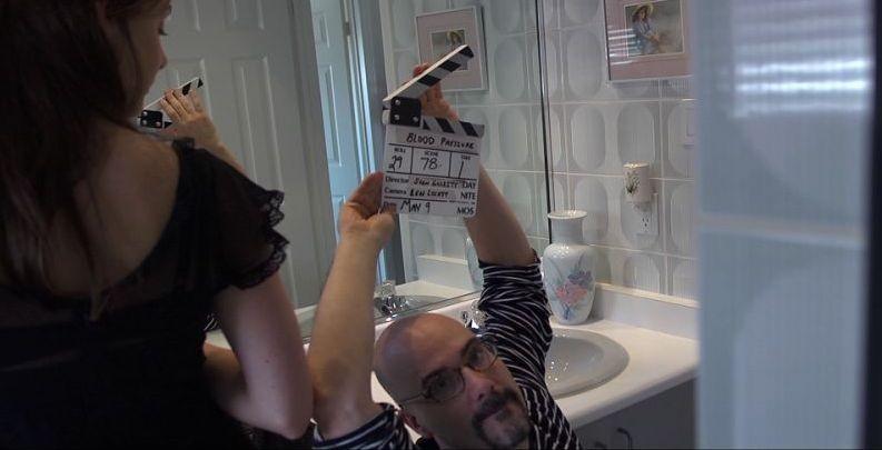 Blood Pressure: il regista Sean Garrity sul set con la protagonista Michelle Giroux