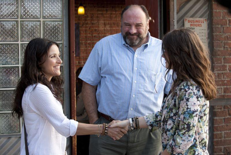 Enough Said: James Gandolfini sorride con Julia Louis-Dreyfus e Eve Hewson in una scena del film