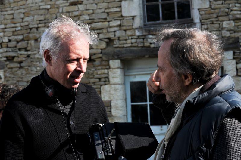 Fabrice Luchini insieme al regista Philippe Le Guay sul set di Molière in bicicletta